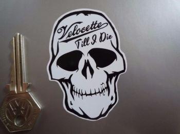 """Velocette Till I Die Skull Sticker. 3""""."""