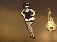 Pin Up Girl in Stockings & Suspenders Self Adhesive Car or Bike Badge. 4