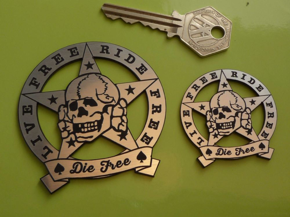 "Live Free, Ride Free, Die Free, Skull & Star Self Adhesive Badge. 1.75"" or 2.5""."