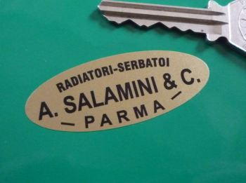 "A. Salamini & C. Black & Gold Oval Radiator Sticker. 2"" or 3""."