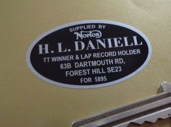 "H. L. Daniell Forest Hill Norton Motorcycle Dealers Sticker. 2""."