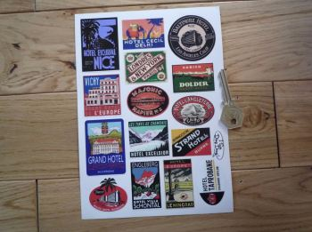 Vintage Style Luggage Labels. Small Scale. Set 1. Set of 15.
