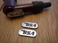 BSA NGK Spark Plug HT Cap Cover Badges. 22mm Pair.