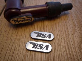BSA NGK Spark Plug HT Cap Cover Badges. 22mm Pair.