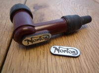 Norton NGK Spark Plug HT Cap Cover Badges. 22mm Pair.