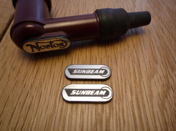 Sunbeam NGK Spark Plug HT Cap Cover Badges. 22mm Pair.