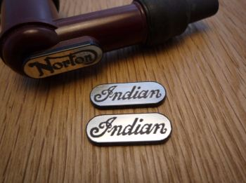 Indian NGK Spark Plug HT Cap Cover Badges. 22mm Pair.