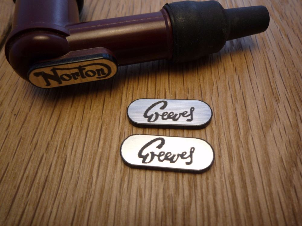Greeves NGK Spark Plug HT Cap Cover Badges. 22mm Pair.