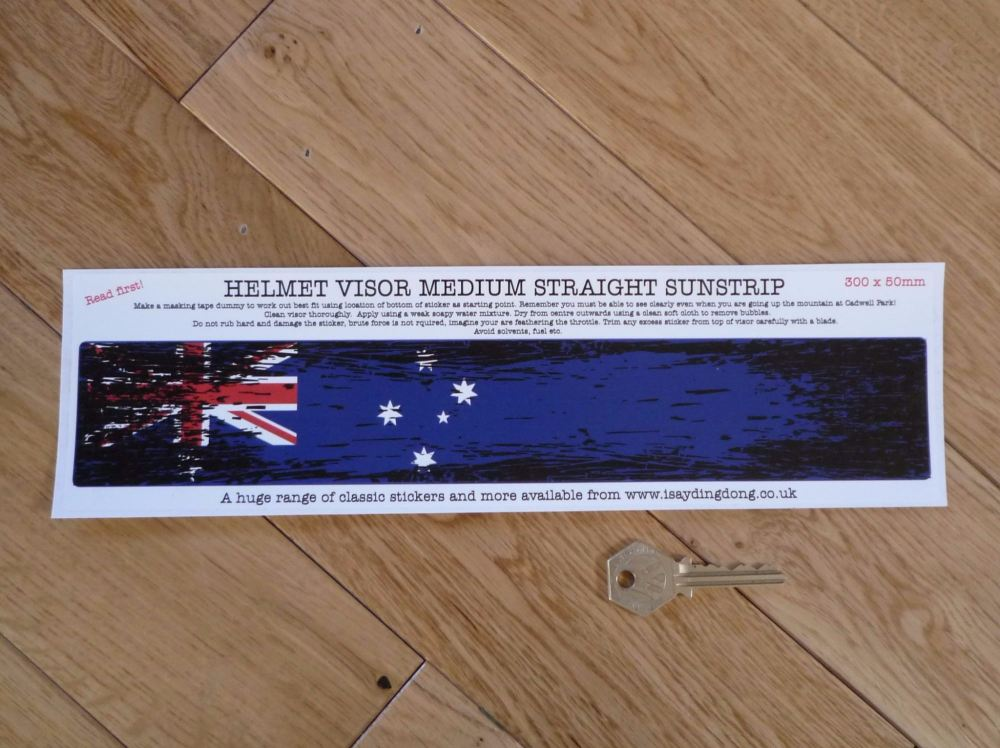 "Australia Flag Worn & Distressed Helmet Visor Straight Sunstrip Sticker. 12"". 50mm Tall."