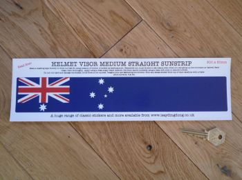 "Australia Flag Helmet Visor Straight Sunstrip Sticker. 12"". 50mm Tall."