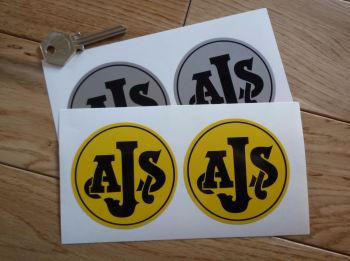 "AJS Black on Yellow/Silver Circular Stickers. 3"" Pair."