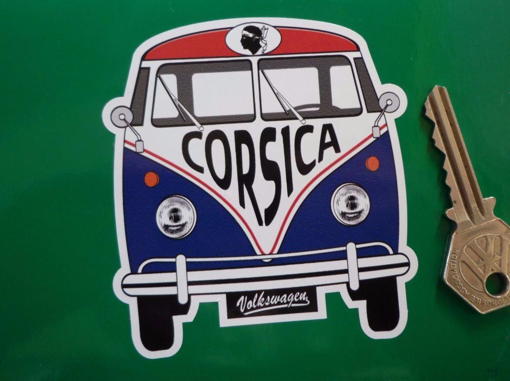 """Corsica Volkswagen Campervan Travel Sticker. 3.5""""."""
