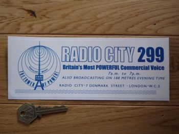 "Radio City 299 1960's Pirate Radio Sticker. 8""."