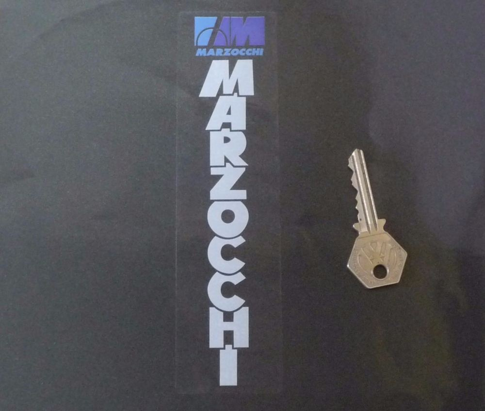 """Marzocchi White & Blue on Clear Fork Slider Stickers. 5"""" or 7"""" Pair."""