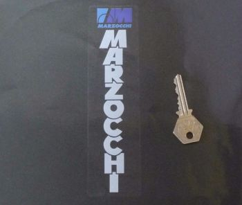 "Marzocchi White & Blue on Clear Fork Slider Stickers. 5"" or 7"" Pair."