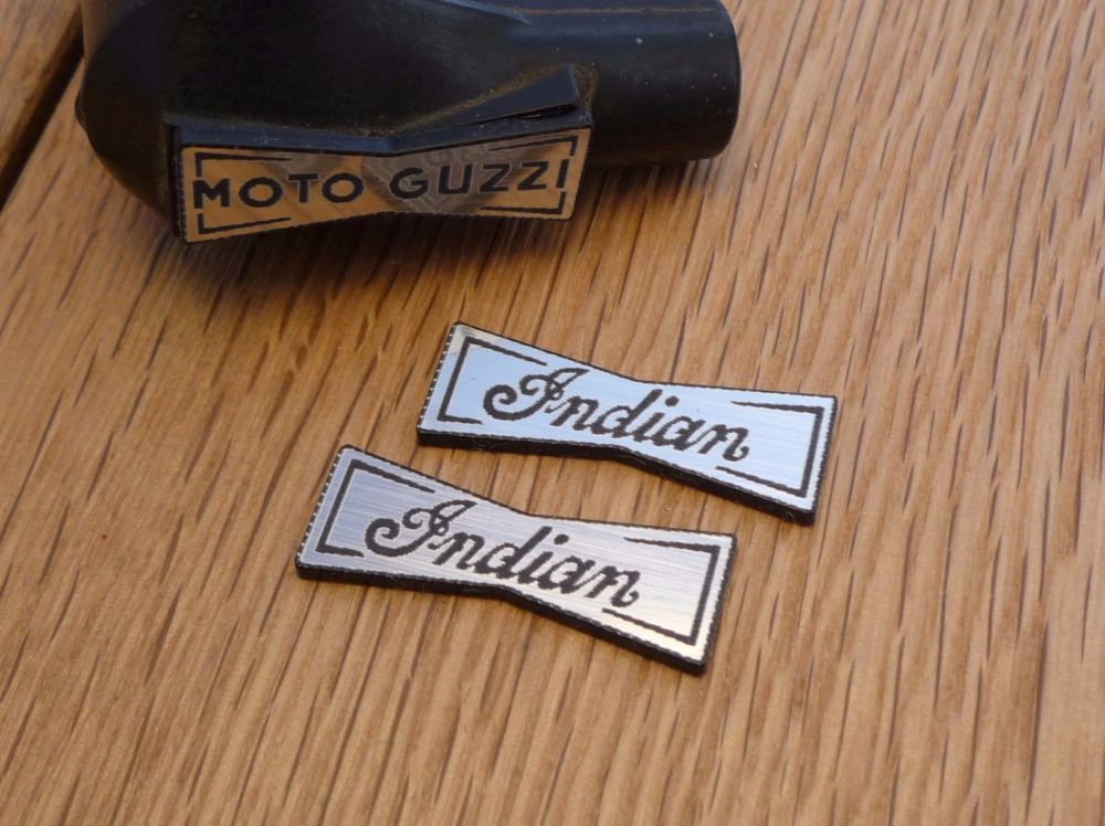 Indian Champion Spark Plug HT Cap Cover Badges. 29mm Pair.