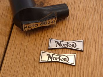 Norton Champion Spark Plug HT Cap Cover Badges. 29mm Pair.