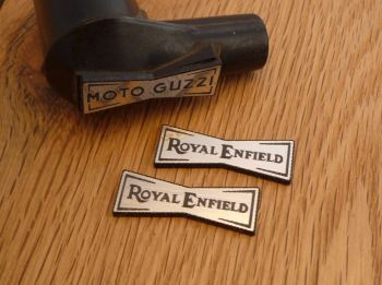 Royal Enfield Champion Spark Plug HT Cap Cover Badges. 29mm Pair.