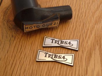 TriBsa Champion Spark Plug HT Cap Cover Badges. 29mm Pair.