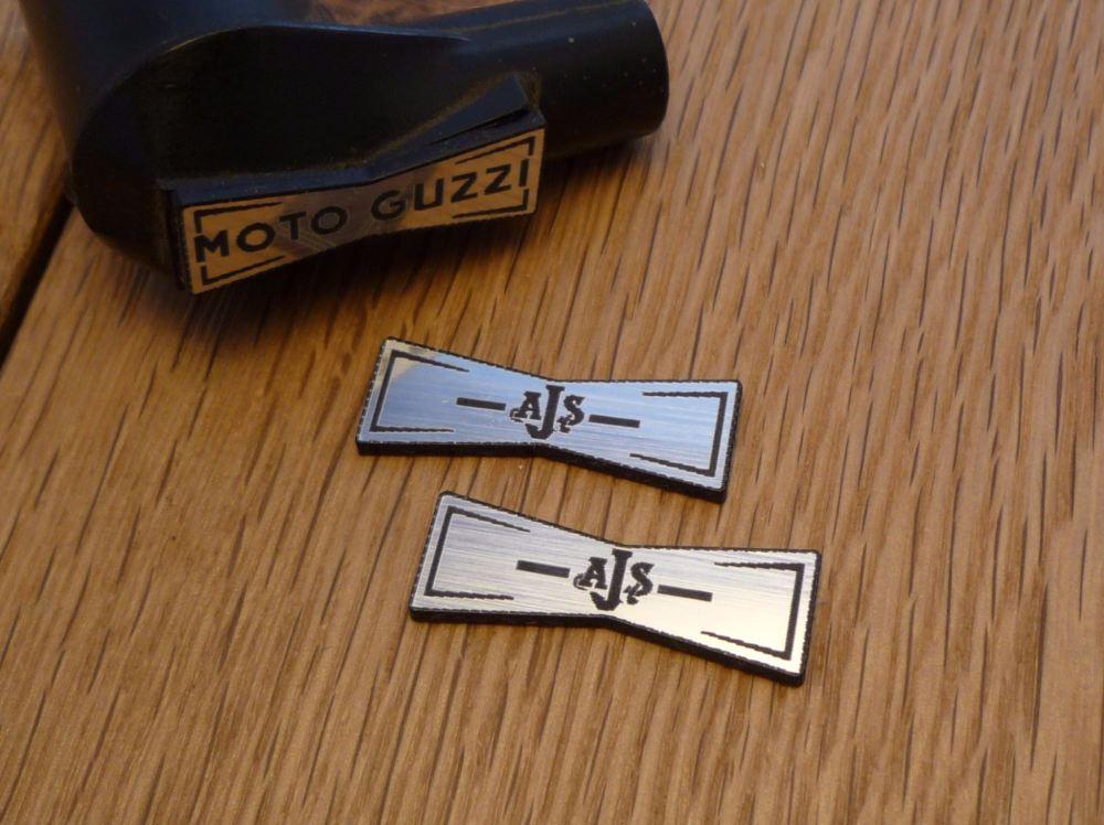 AJS Champion Spark Plug HT Cap Cover Badges. 29mm Pair.