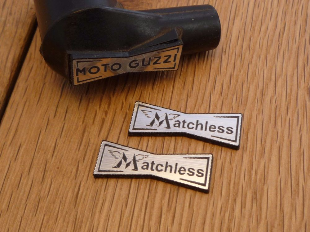 Matchless Champion Spark Plug HT Cap Cover Badges. 29mm Pair.