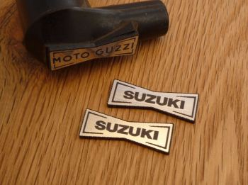 Suzuki Champion Spark Plug HT Cap Cover Badges. 29mm Pair.