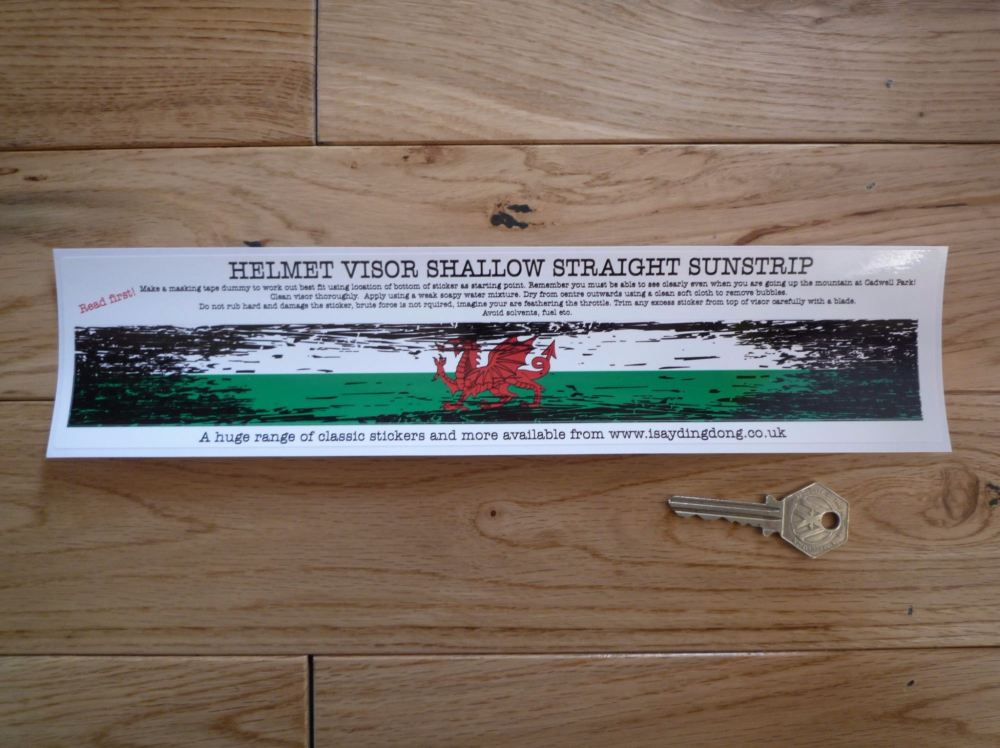 "Wales Flag Worn & Distressed Helmet Visor Straight Sunstrip Sticker. 12"". 35mm or 50mm Tall."