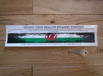 "Wales Flag Worn & Distressed Helmet Visor Straight Sunstrip Sticker. 12"". 35mm or 50mm Tall."