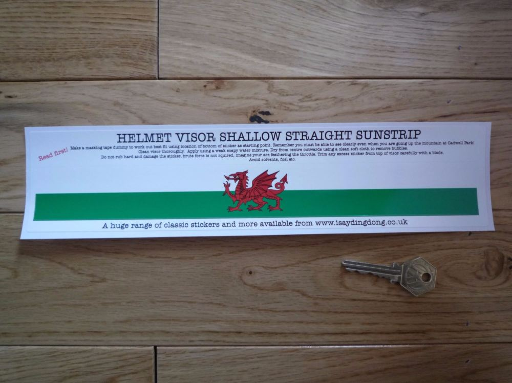 "Wales Flag Helmet Visor Straight Sunstrip Sticker. 12"". 35mm or 50mm Tall."