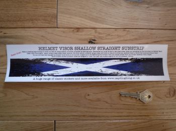 "Scotland Saltire Flag Worn & Distressed Helmet Visor Straight Sunstrip Sticker. 12"". 35mm or 50mm Tall."