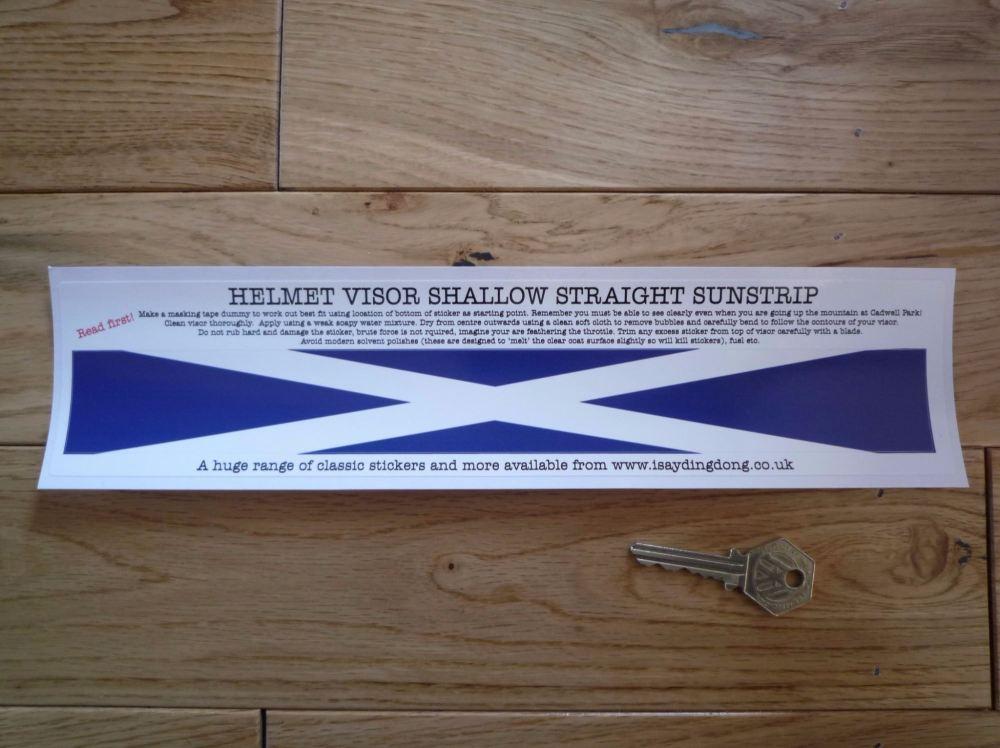 "Scotland Saltire Flag Helmet Visor Straight Sunstrip Sticker. 12"". 35mm or 50mm Tall."