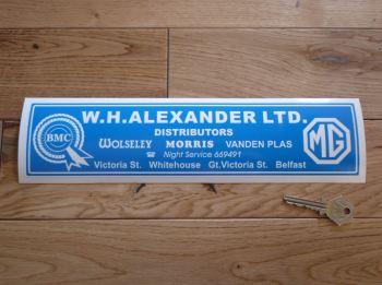 "W.H.Alexander Ltd BMC MG Wolseley Morris Vanden Plas Distibutors Dealers Sticker. 8"" or 12""."