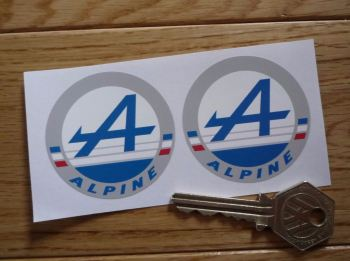 "Alpine Logo Circular Stickers. 2"" Pair."