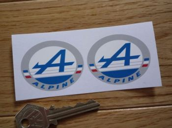 "Alpine Logo Oval Stickers. 2""  or 3.5"" Pair."