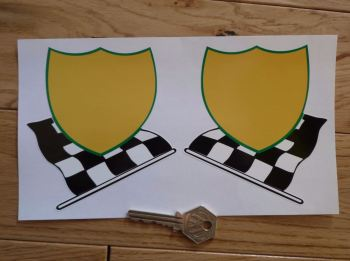 "BP LeMans Plain Shield & Chequered Flag Stickers. 4"" Pair"