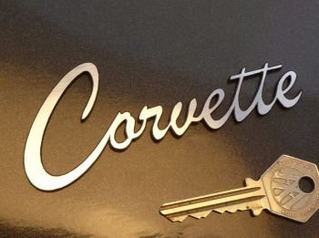 "Corvette Script Style Laser Cut Self Adhesive Car Badge. 4.5""."