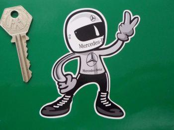 "Mercedes Benz Full Face Helmet Driver 2 Fingered Salute Sticker. 3.5""."