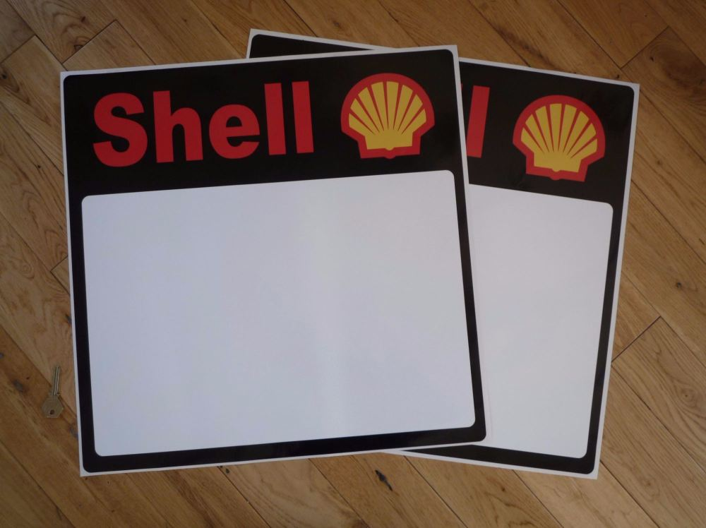 """Shell Race Car Door Panel Later Style Stickers. 19.5"""" Pair."""