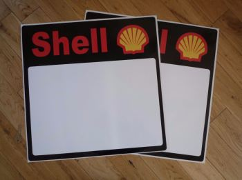 "Shell Race Car Door Panel Later Style Stickers. 19.5"" Pair."