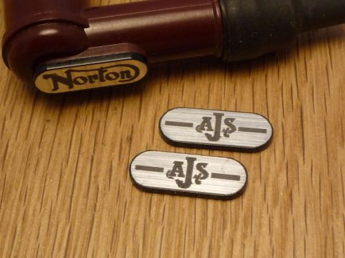 AJS NGK Spark Plug HT Cap Cover Badges. 22mm Pair.