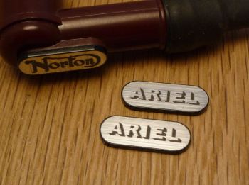 Ariel NGK Spark Plug HT Cap Cover Badges. 22mm Pair.
