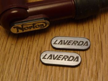 Laverda NGK Spark Plug HT Cap Cover Badges. 22mm Pair.