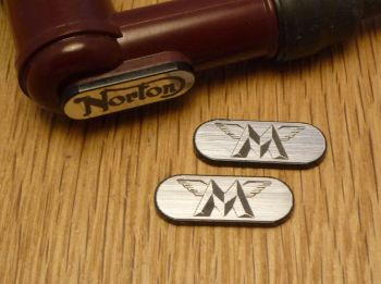 Matchless NGK Spark Plug HT Cap Cover Badges. 22mm Pair.