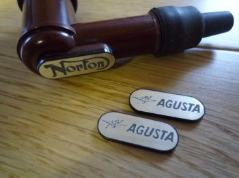 MV Agusta NGK Spark Plug HT Cap Cover Badges. 22mm Pair.