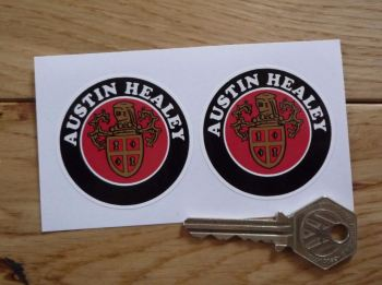 Austin Healey Crest & Cooper Style Text Circular Stickers. 50mm Pair.