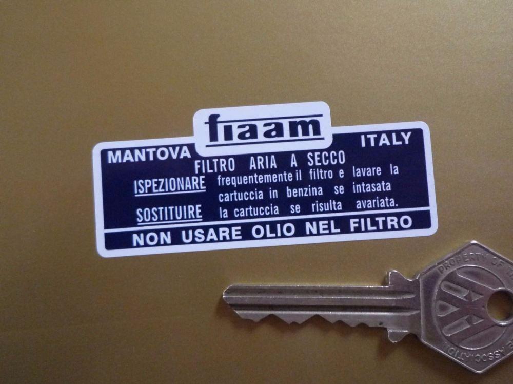 """Fiaam Navy Blue & White Filter Sticker. 2.75""""."""