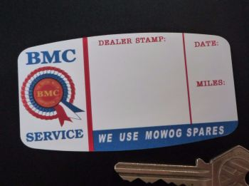 "BMC Mowog Spares Dealer Stamp Service Sticker. 3.5""."
