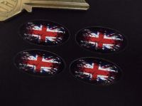 Union Jack Fade To Black Oval Stickers. Set of 4. 30mm or 50mm.
