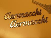 Aermacchi Script Style Laser Cut Self Adhesive Bike Badge. 3.5