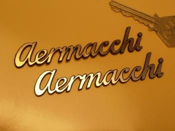 Aermacchi Script Style Laser Cut Self Adhesive Bike Badge. 3.5""